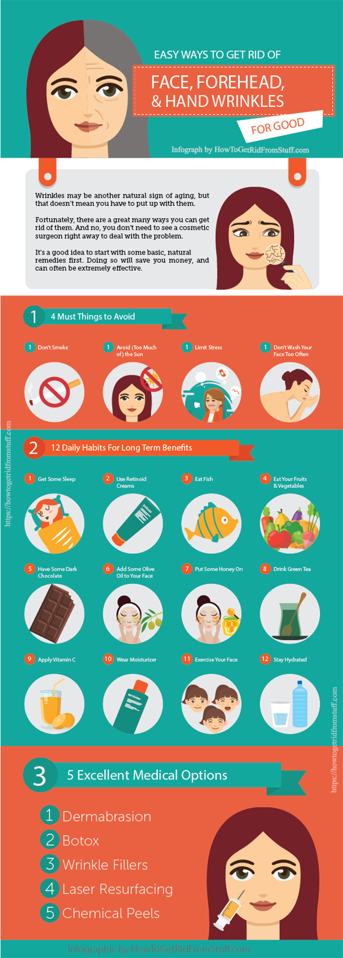 get rid of wrinkles on face forehead hands infographic